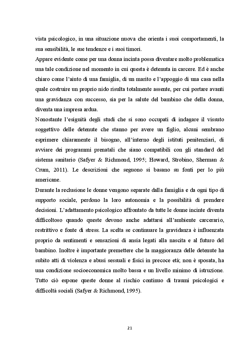Estratto dalla tesi: Madri e bambini in carcere:dimensioni psicologiche dell'esperienza di co-detenzione