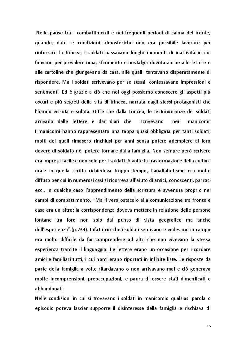 Estratto dalla tesi: Patologie mentali e Grande Guerra: le origini della psichiatria e della psicologia di guerra in Italia