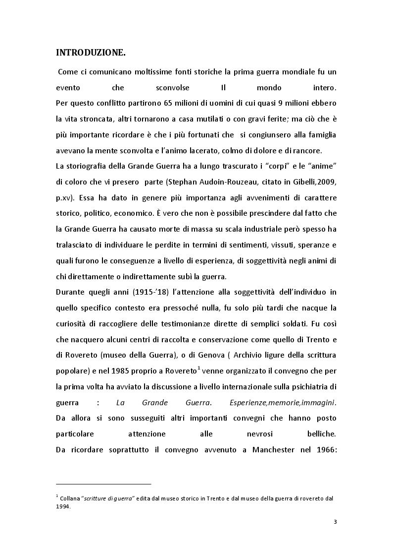 Anteprima della tesi: Patologie mentali e Grande Guerra: le origini della psichiatria e della psicologia di guerra in Italia, Pagina 2