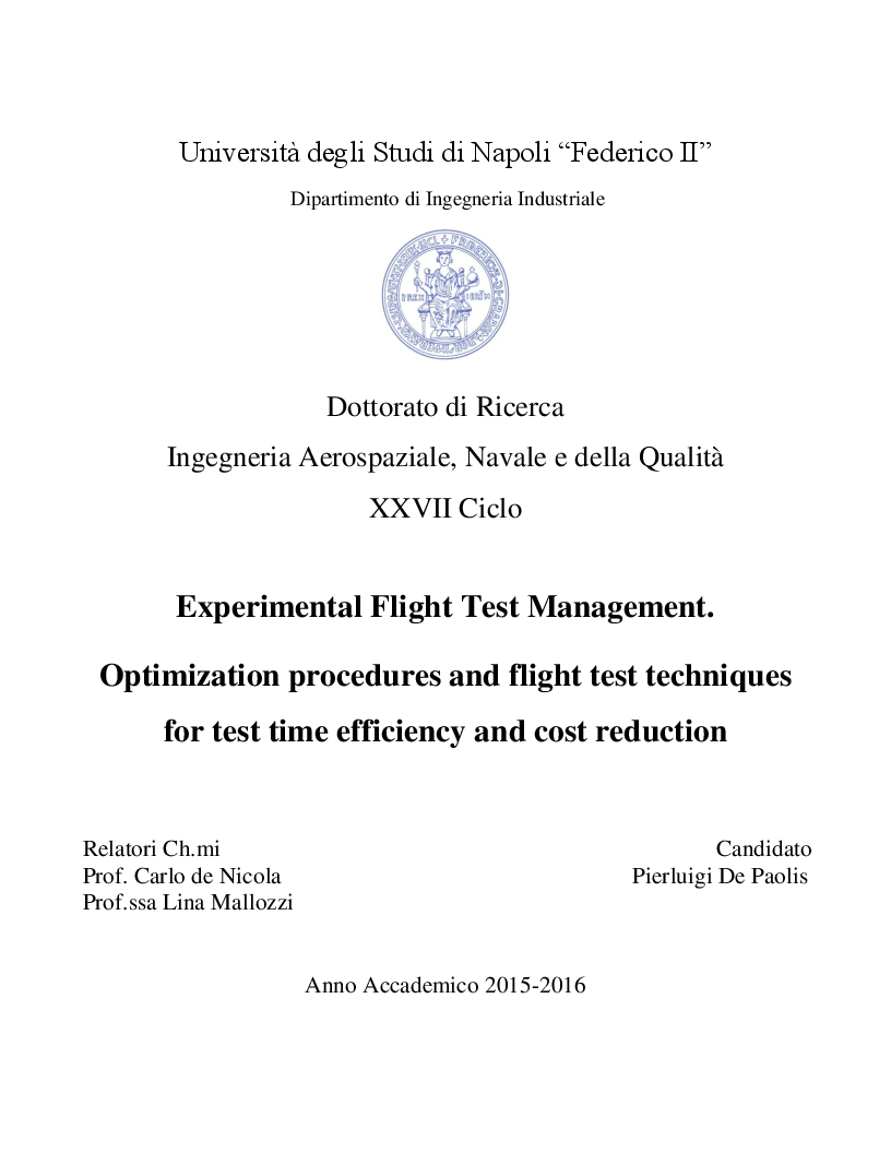 Anteprima della tesi: Experimental Flight Test Management. Optimization procedures and flight test techniques, Pagina 1