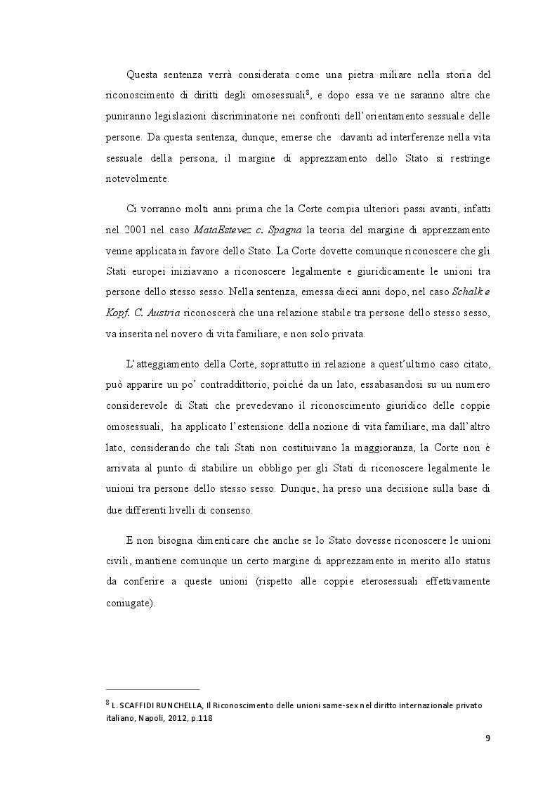 Estratto dalla tesi: I diritti delle coppie omosessuali nella giurisprudenza della Corte di Strasburgo