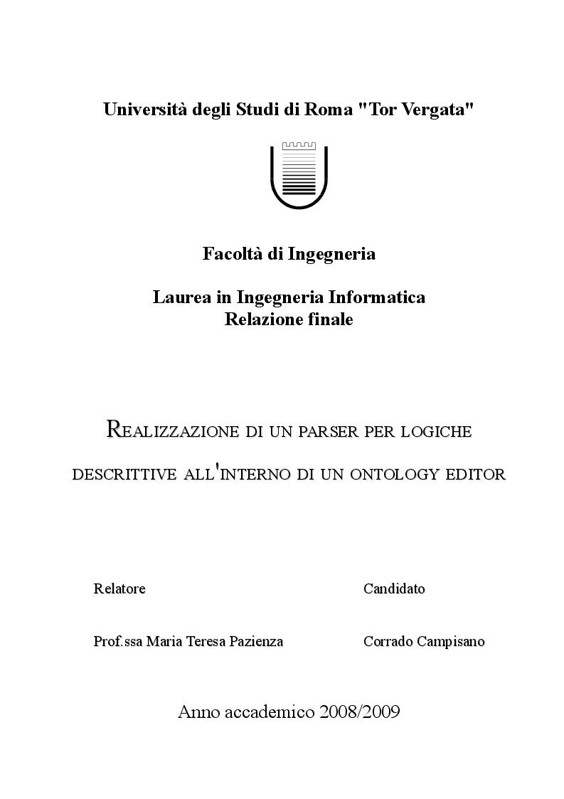Anteprima della tesi: Realizzazione di un parser per Logiche Descrittive all'interno di un Ontology Editor, Pagina 1