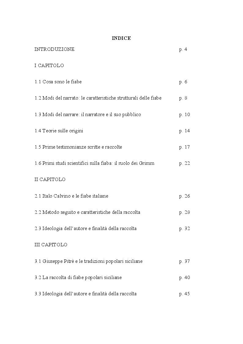 Indice della tesi: Dietro l'incanto: un viaggio alla scoperta del genere fiabesco, Pagina 1
