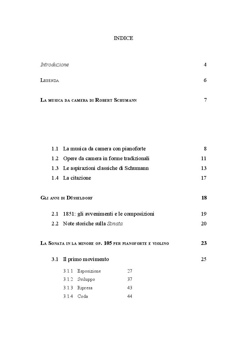 Indice della tesi: La sonata op.105 per pianoforte e violino di Robert Schumann - Un'analisi per l'interpretazione, Pagina 1