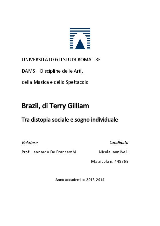 Anteprima della tesi: Brazil, di Terry Gilliam. Tra distopia sociale e sogno individuale, Pagina 1