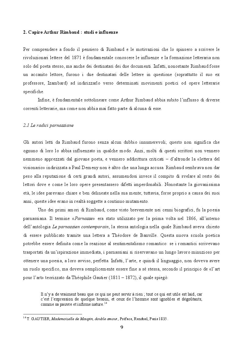 Estratto dalla tesi: Le «Lettres du Voyant» di Arthur Rimbaud