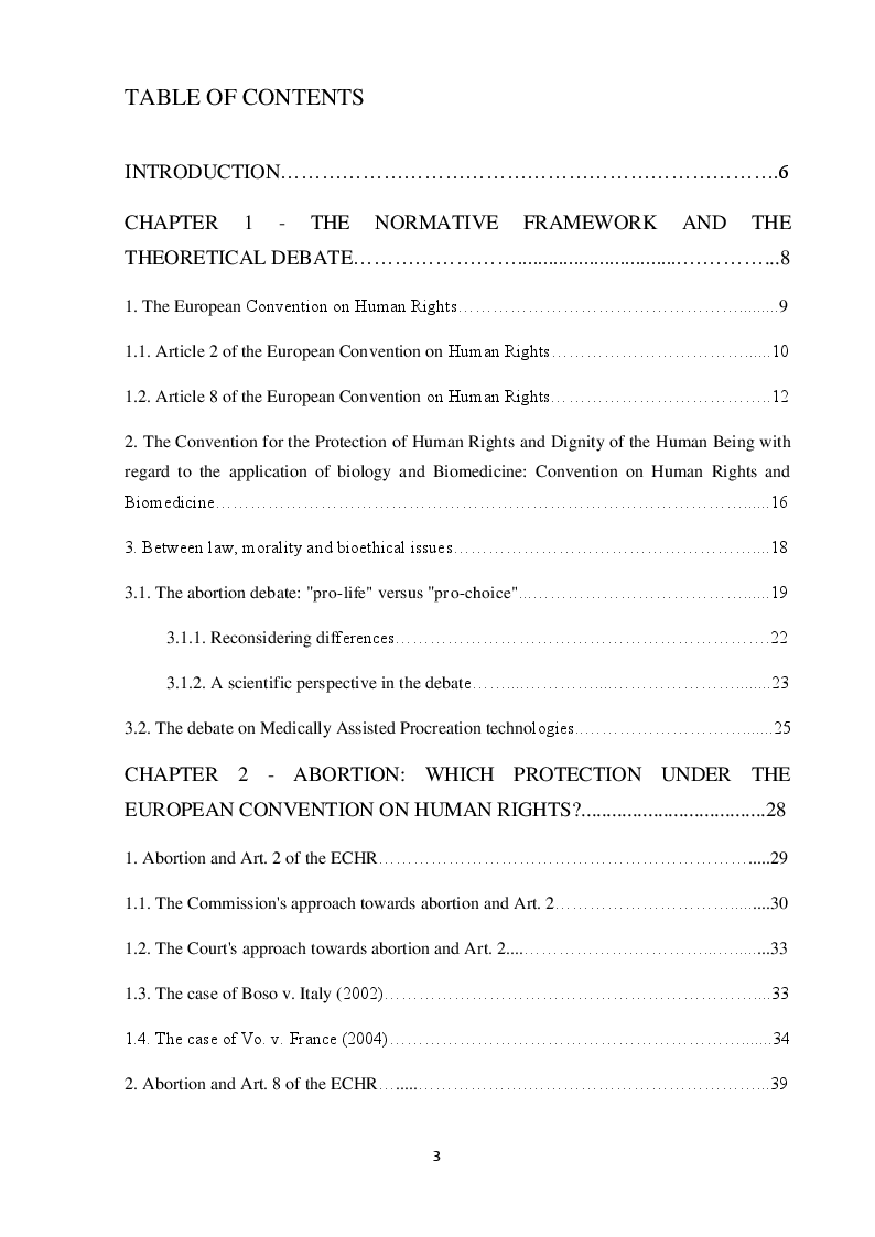 Indice della tesi: Reproductive rights before the European Court of Human Rights: States' discretion or European supervision?, Pagina 1