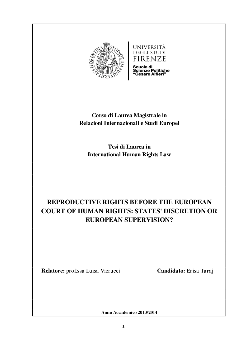 Anteprima della tesi: Reproductive rights before the European Court of Human Rights: States' discretion or European supervision?, Pagina 1