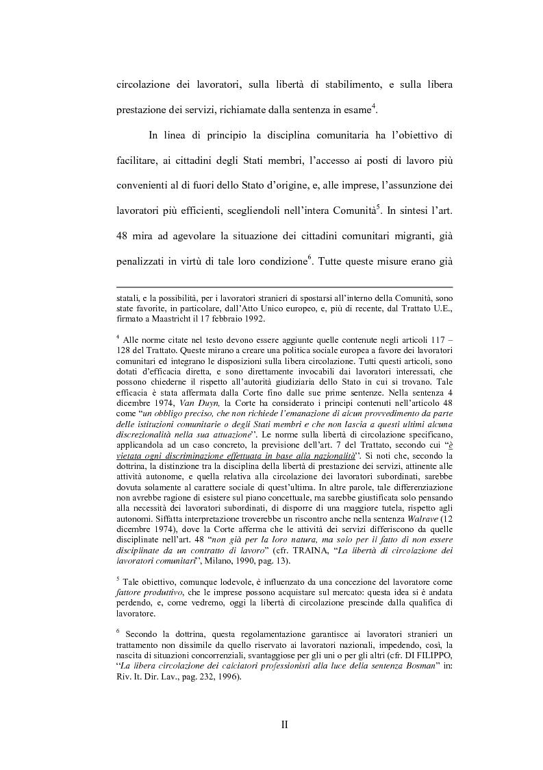 Anteprima della tesi: La sentenza Bosman ed i suoi effetti sull'ordinamento sportivo, Pagina 2