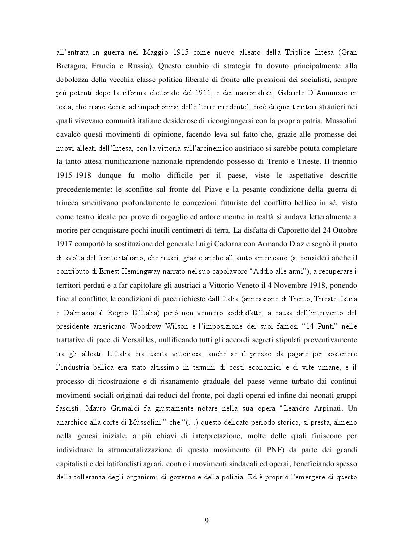 Estratto dalla tesi: Leandro Arpinati. Un gerarca fascista fra calcio e politica