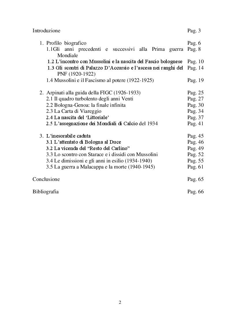 Indice della tesi: Leandro Arpinati. Un gerarca fascista fra calcio e politica, Pagina 1