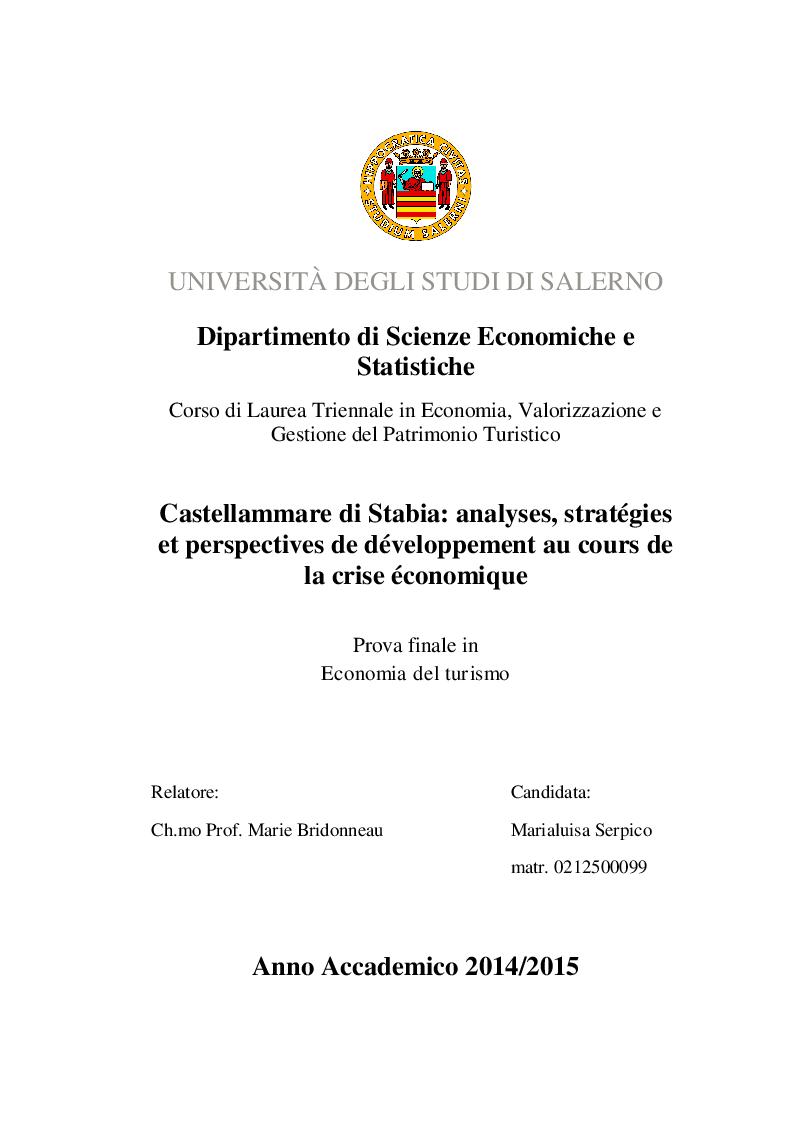 Anteprima della tesi: Castellammare di Stabia: analyses, stratégies et perspectives de développement au cours de la crise économique, Pagina 1