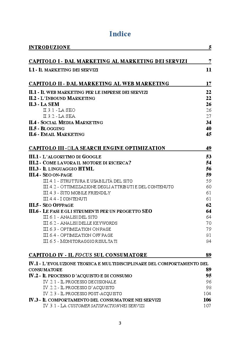 Indice della tesi: La SEO e gli strumenti del Web Marketing: il punto di vista delle aziende, Pagina 1