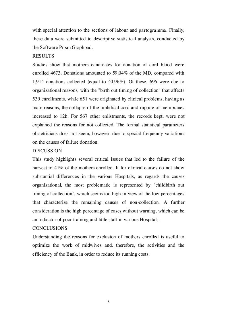 Estratto dalla tesi: Analisi delle cause di mancata raccolta delle donazioni di sangue cordonale