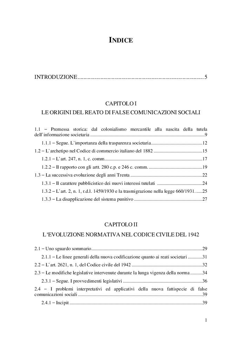 Indice della tesi: Evoluzione storica e quadro normativo attuale del reato di false comunicazioni sociali, Pagina 1