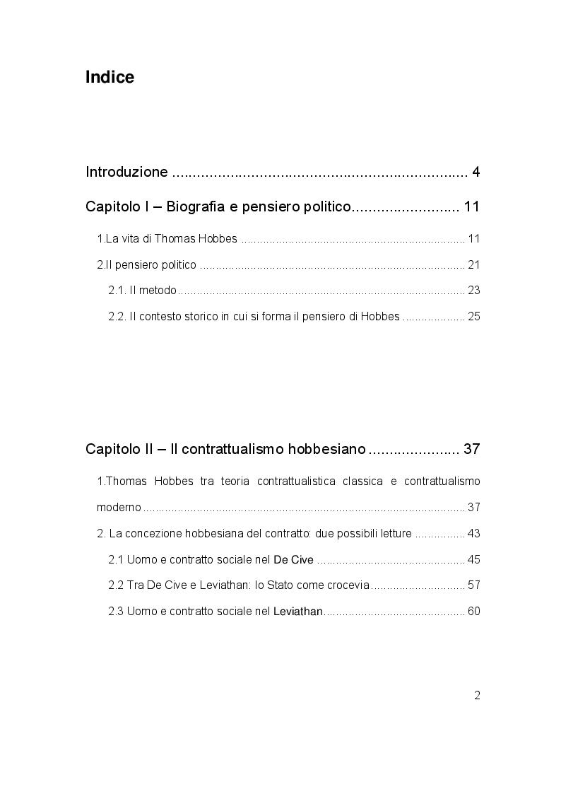 Indice della tesi: Il contratto sociale in Thomas Hobbes: analisi dei testi e riletture storiografiche, Pagina 1
