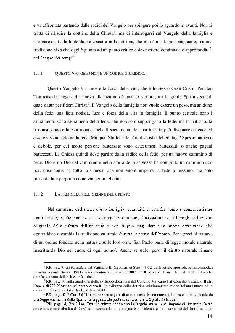 Estratto dalla tesi: Il sinodo sulla famiglia 2014 e i presupposti canonici per la conciliazione delle divergenze