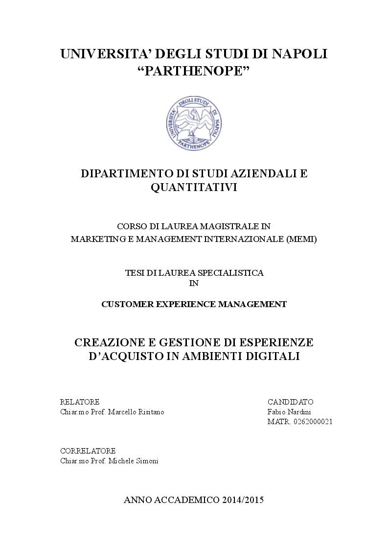 Anteprima della tesi: Creazione e gestione di esperienze d'acquisto in ambienti digitali, Pagina 1