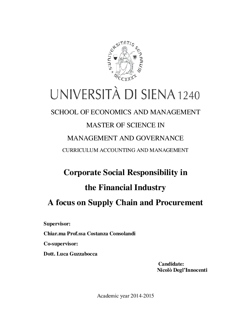 Anteprima della tesi: CSR in the Financial Industry: A Focus on Supply Chain and Management, Pagina 1