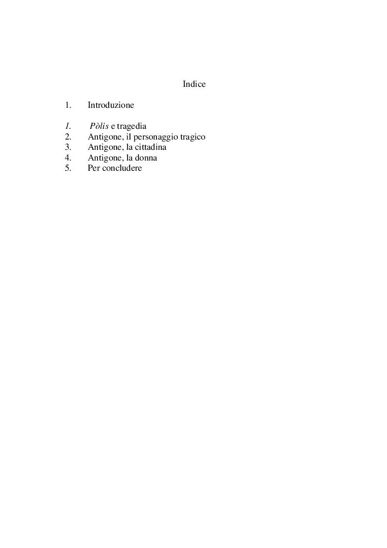 Indice della tesi: Sui ruoli di Antigone, Pagina 1