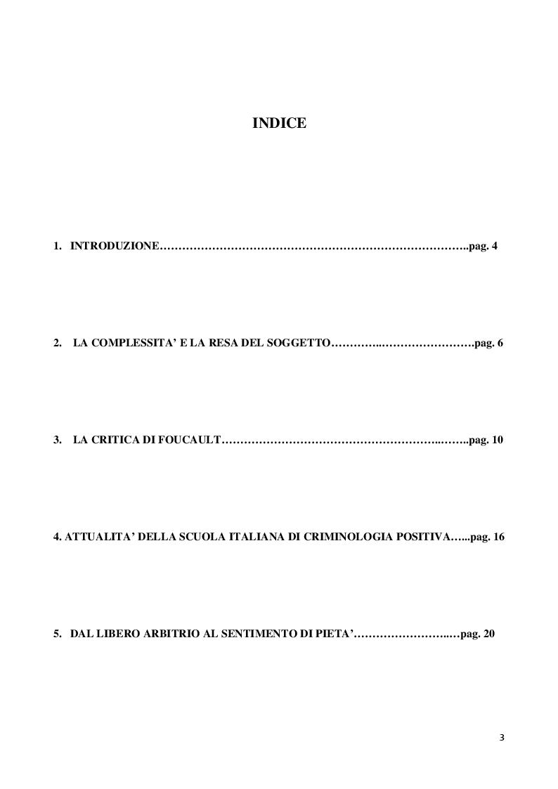 Indice della tesi: Garofalo e il sentimento di pietà. Difesa della scuola italiana di criminologia positiva, Pagina 1