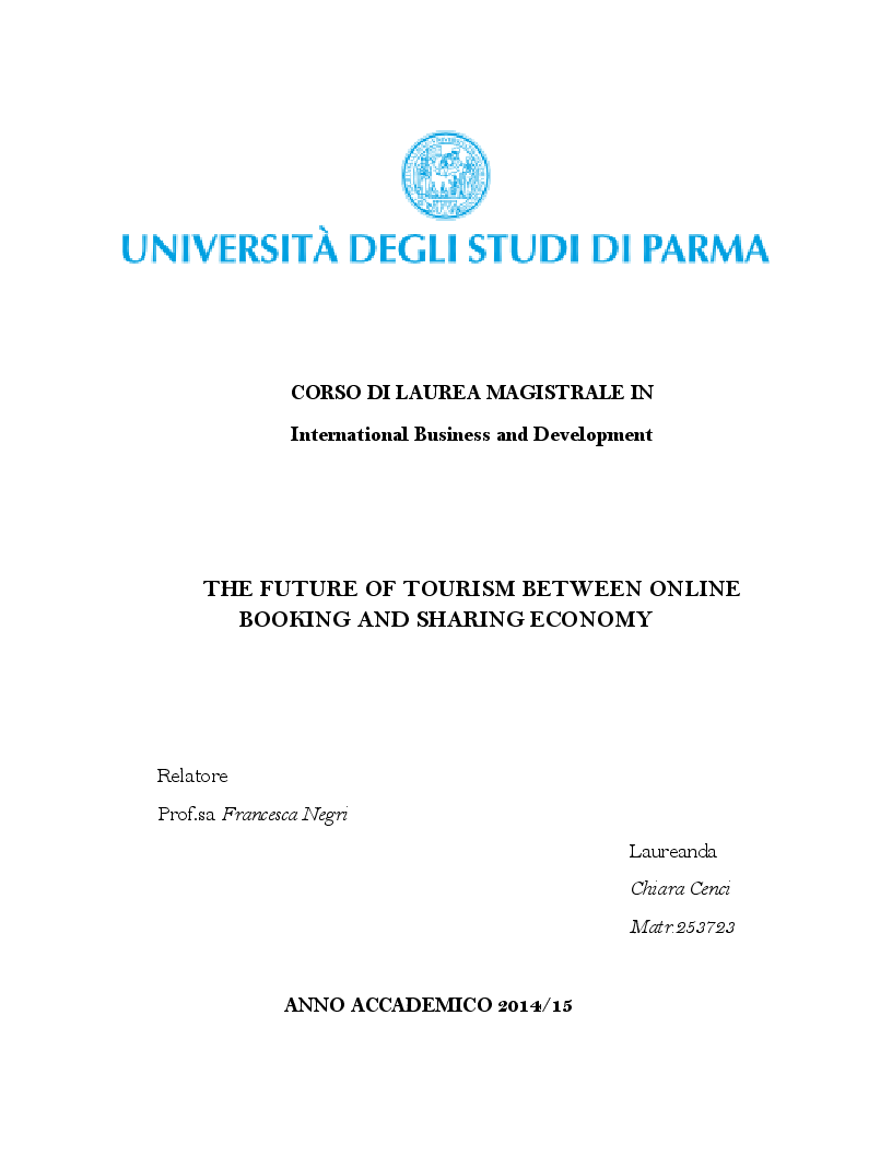 Anteprima della tesi: The Future of Tourism between Online Booking and Sharing Economy, Pagina 1