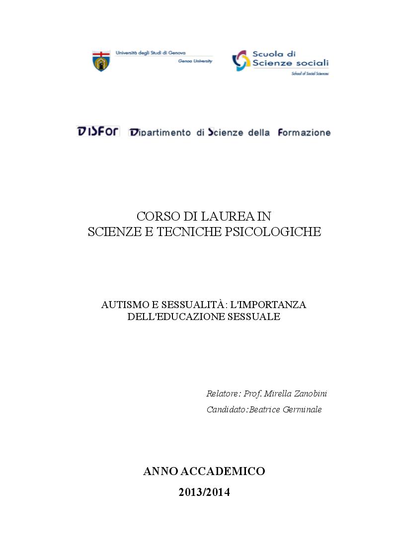 Anteprima della tesi: Autismo e sessualità: l'importanza dell'educazione sessuale, Pagina 1
