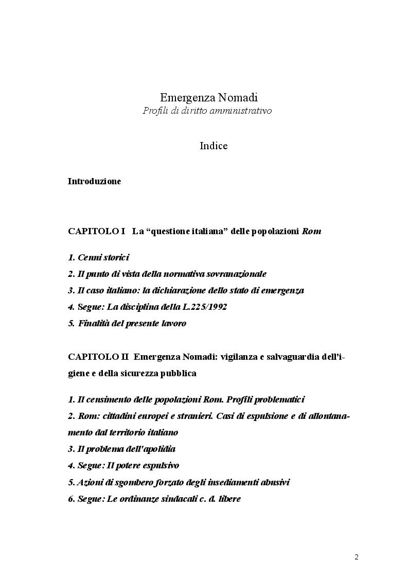 Indice della tesi: Emergenza Nomadi. Profili di diritto amministrativo., Pagina 1