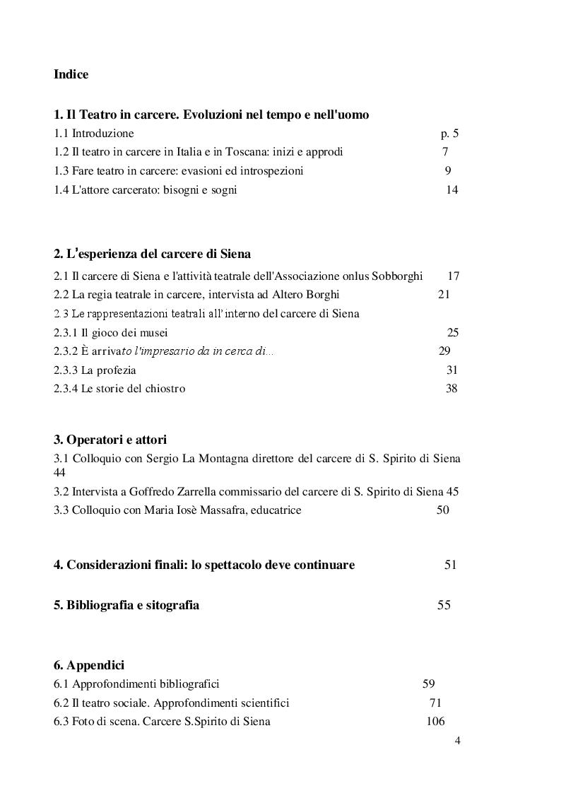 Indice della tesi: Il Teatro nel carcere S. Spirito di Siena, Pagina 1