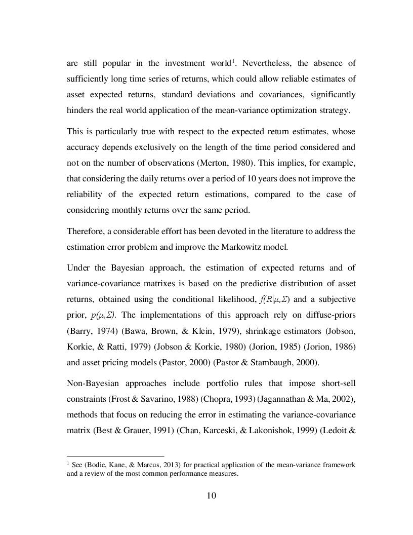 Estratto dalla tesi: Sophisticated vs Naive Diversification: The Optimal Trade-off