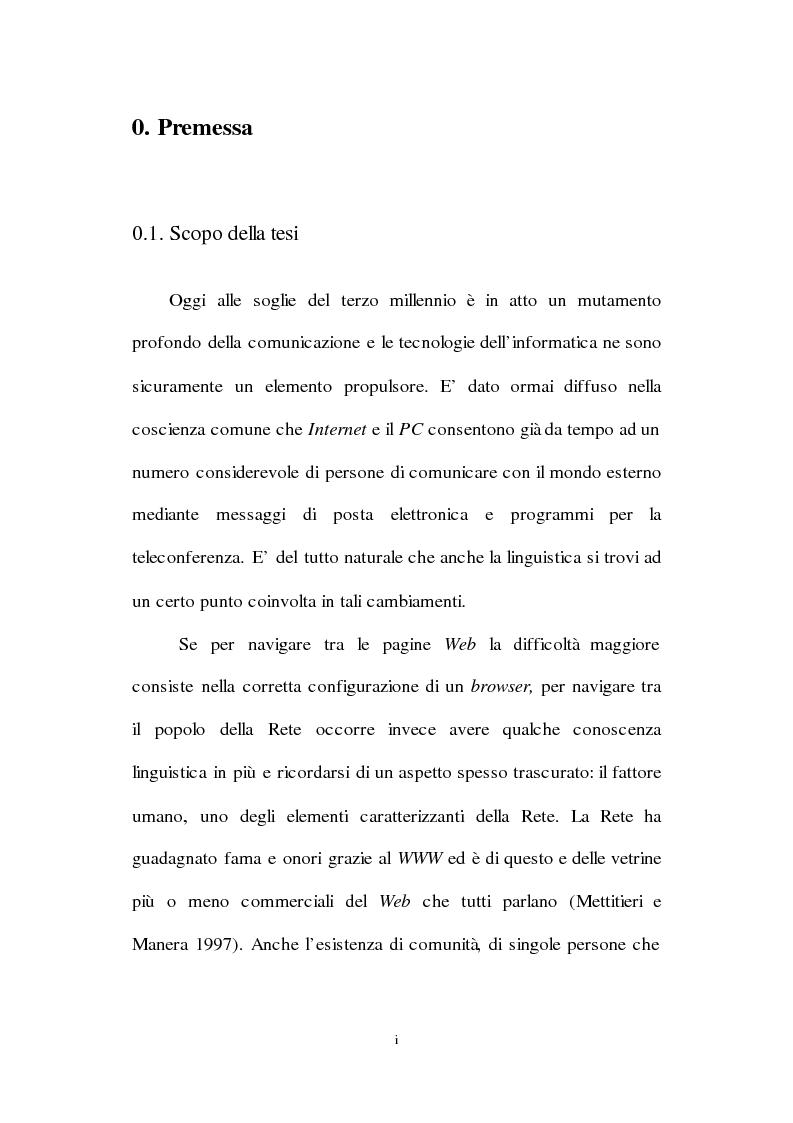 Anteprima della tesi: Lingua inglese e comunicazione nell'era del pc e di Internet: un'analisi sociolinguistica, Pagina 1
