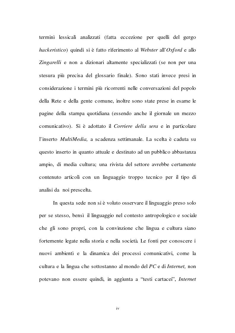 Anteprima della tesi: Lingua inglese e comunicazione nell'era del pc e di Internet: un'analisi sociolinguistica, Pagina 4