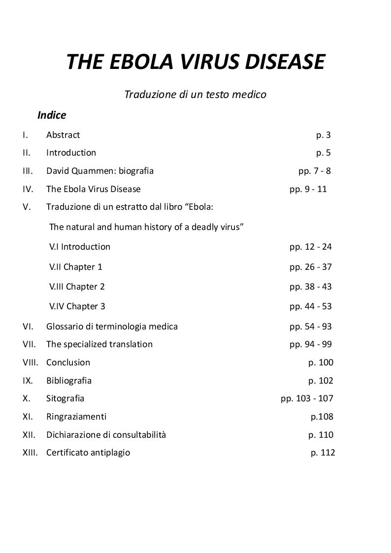 Indice della tesi: EVD - The Ebola Virus Disease, una traduzione medica, Pagina 1