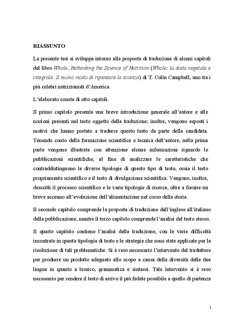 Proposta di traduzione e di analisi del testo del testo Whole: vegetale e integrale. Il nuovo modo di ripensare la scien...