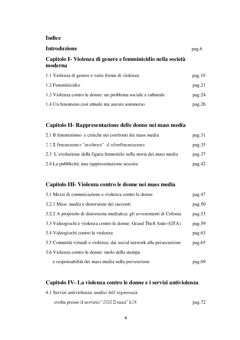 Indice della tesi: Rappresentazione dei mass media della violenza maschile contro le donne, Pagina 1