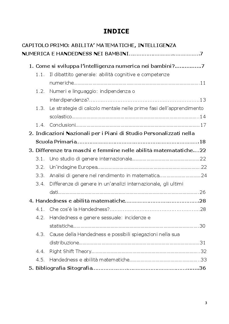 Indice della tesi: The Disvantage of strong dextrality: abilità matematiche e handedness nei bambini della scuola elementare, Pagina 1