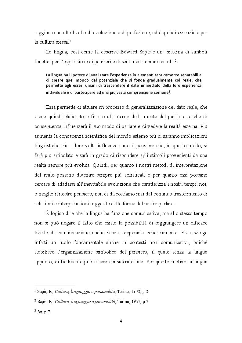 Anteprima della tesi: Relativismo linguistico: l'efficacia della traduzione, Pagina 5