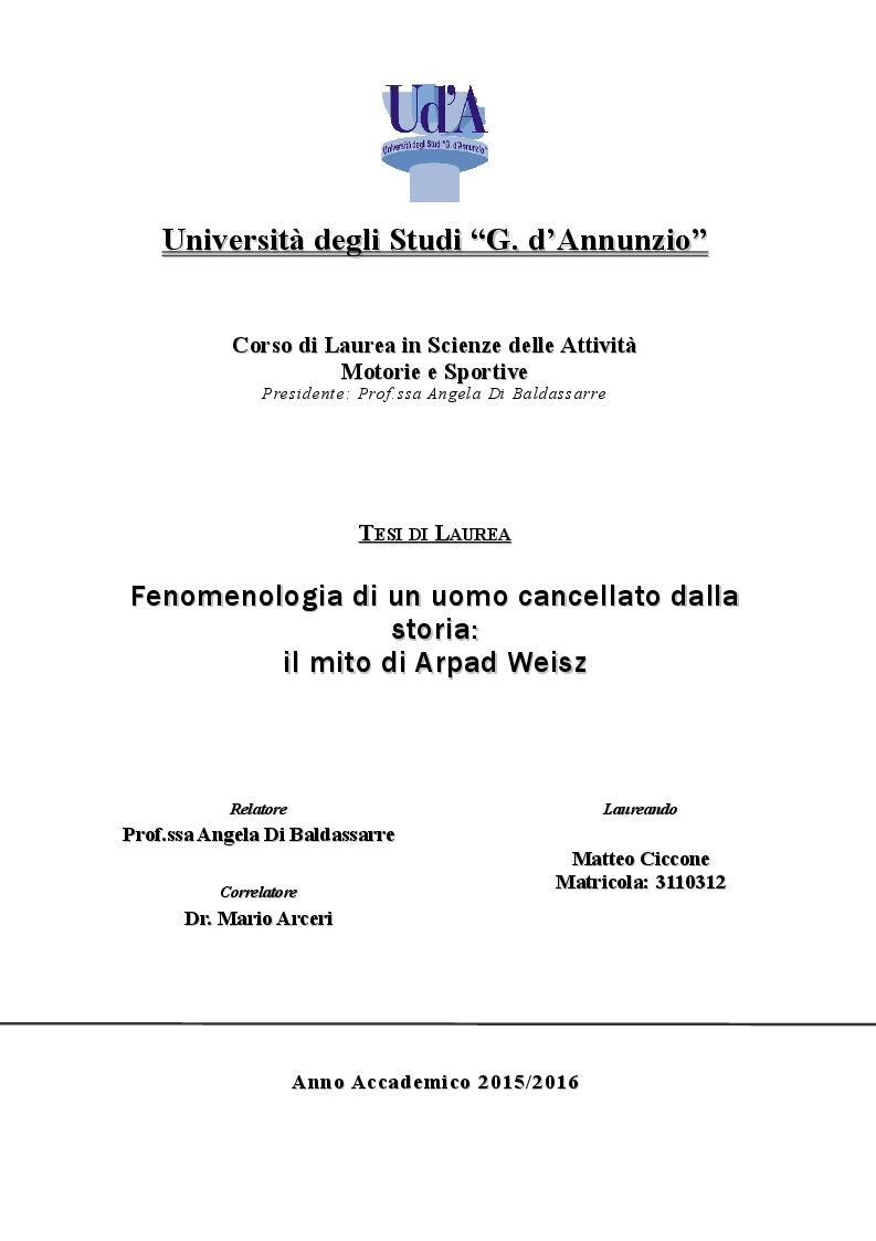 Anteprima della tesi: Fenomenologia di un uomo cancellato dalla storia: il mito di Arpad Weisz, Pagina 1