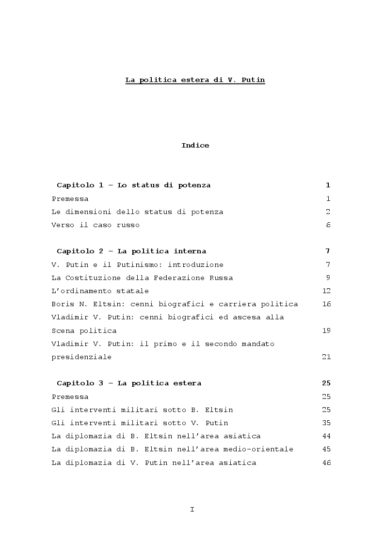 Indice della tesi: La Politica Estera di V. Putin, Pagina 1