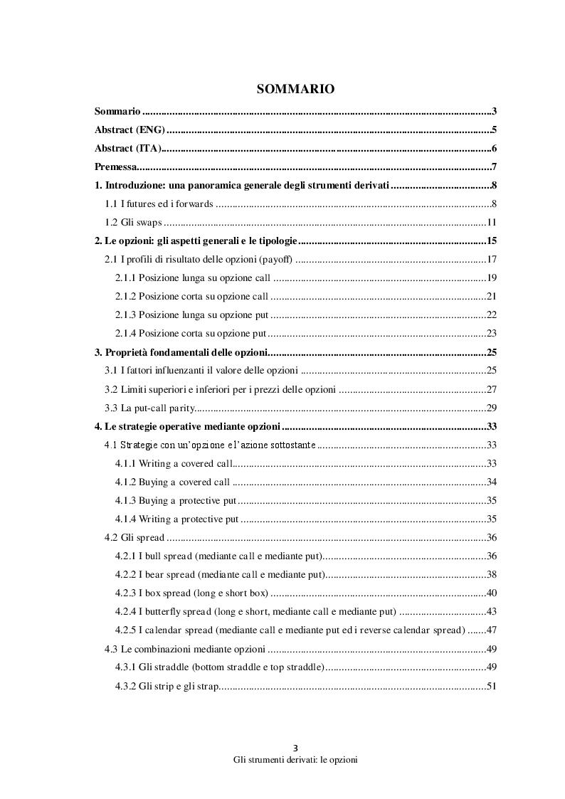 Indice della tesi: Gli strumenti derivati: Le opzioni, Pagina 1