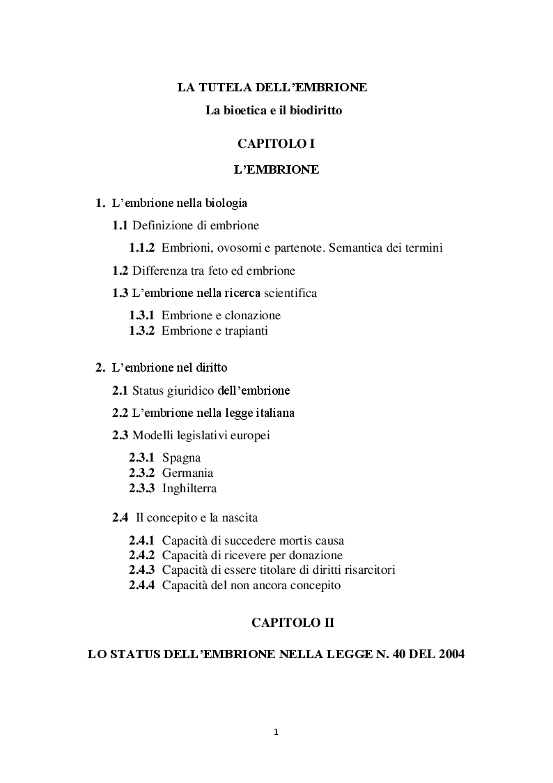 Indice della tesi: La tutela dell'embrione, Pagina 1