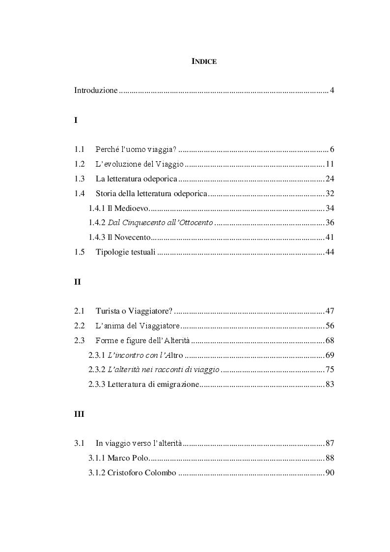 Indice della tesi: Forme e figure dell'alterità: il racconto di viaggio, Pagina 1