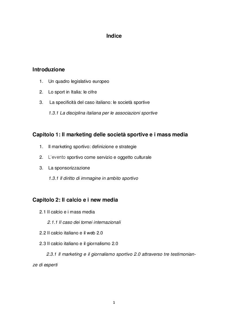 Indice della tesi: Sport & Management: Il ruolo dei new media e social network nel comportamento della domanda, Pagina 1