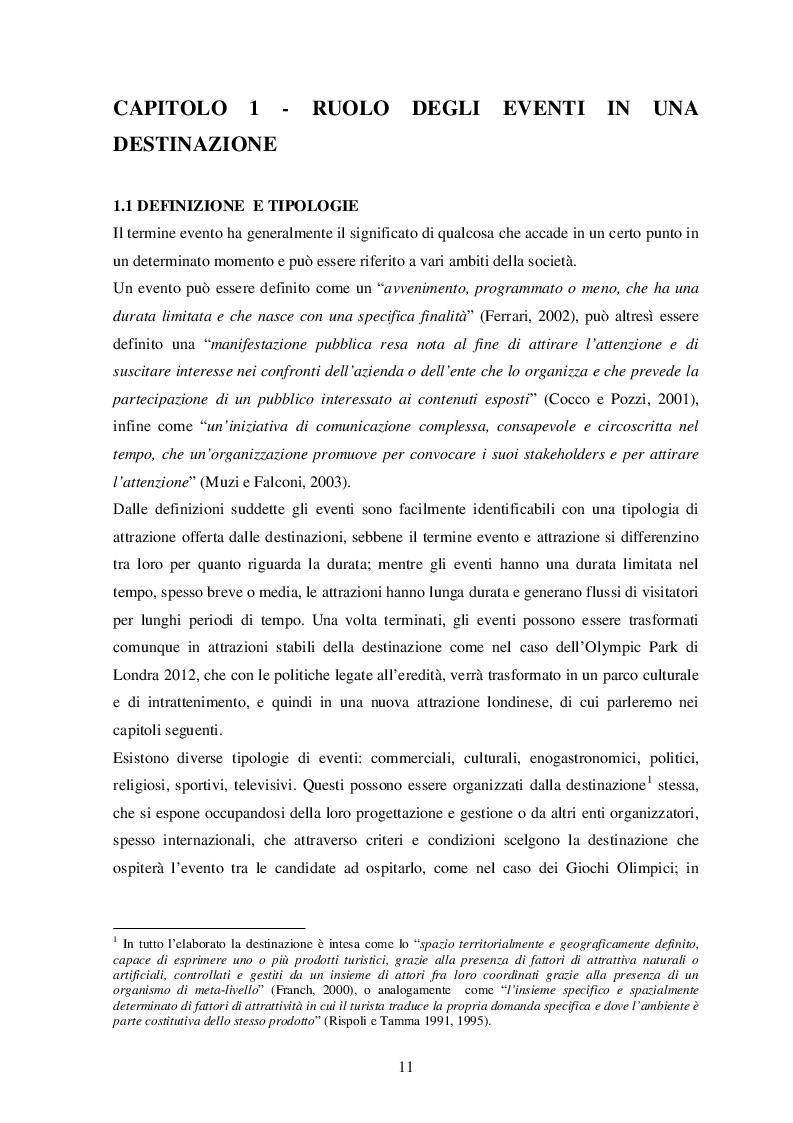 Estratto dalla tesi: Ruolo, impatto e marketing degli eventi.  Il Caso Londra 2012.