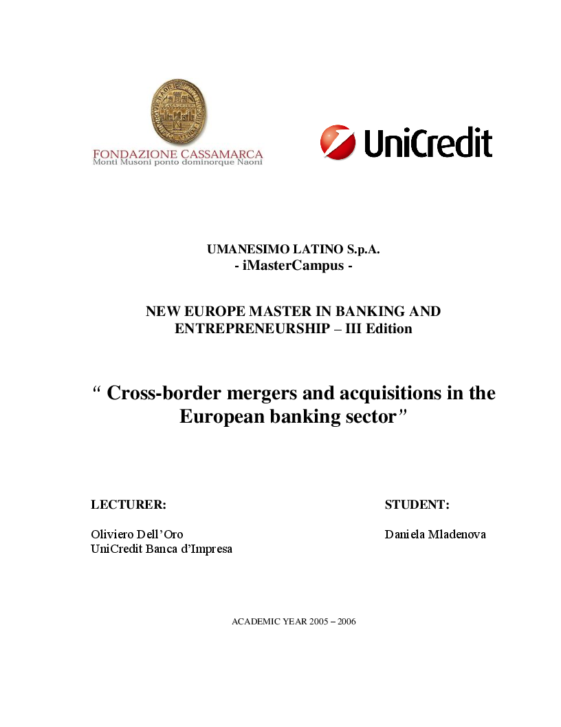 Anteprima della tesi: Cross-border mergers and acquisitions in the European banking sector, Pagina 1