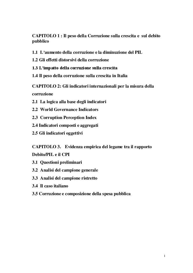 Indice della tesi: L'altra faccia del debito pubblico: la corruzione, Pagina 1