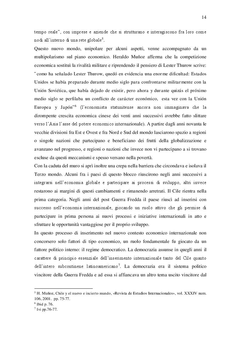 Estratto dalla tesi: L'apertura internazionale del Cile dal 1990 al 2015