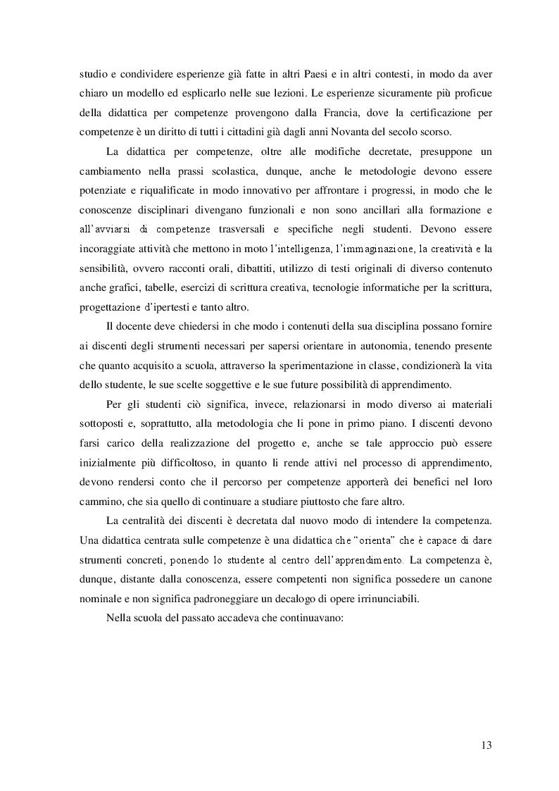 Estratto dalla tesi: Educazione linguistica e testo letterario: una sperimentazione didattica a partire dal progetto Compita