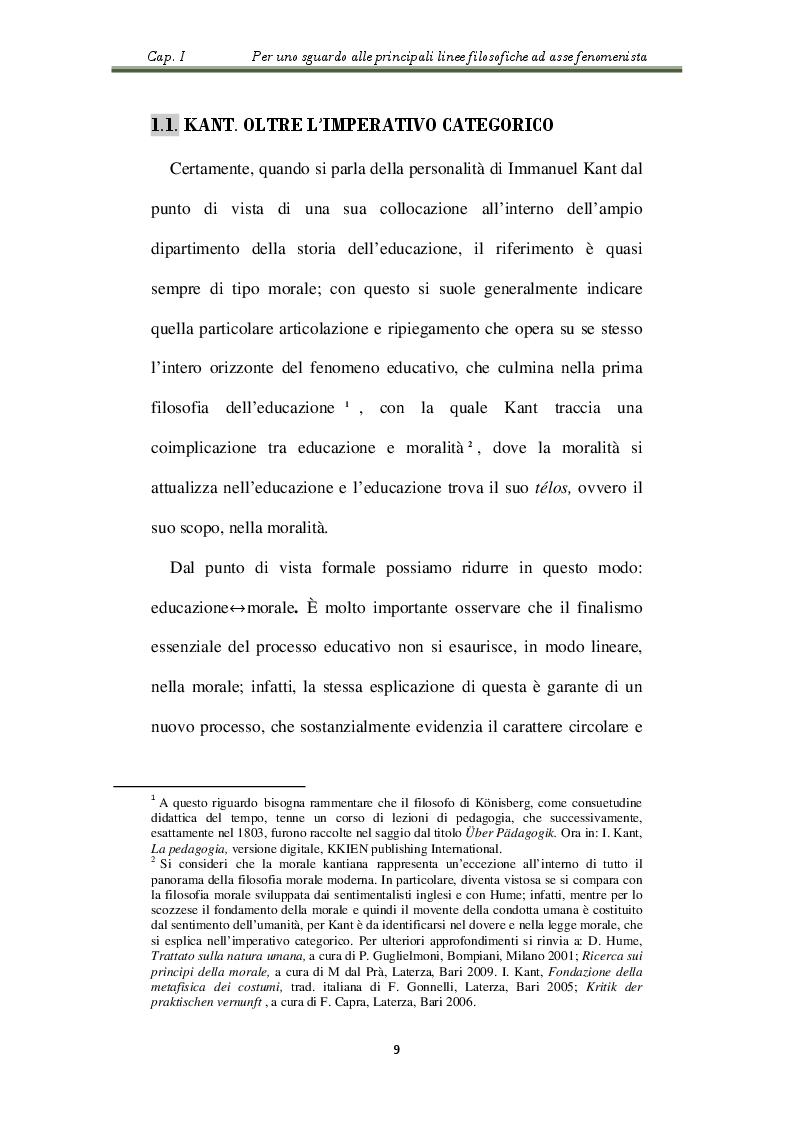 Estratto dalla tesi: L'educazione fenomenistica nella prospettiva kantiana