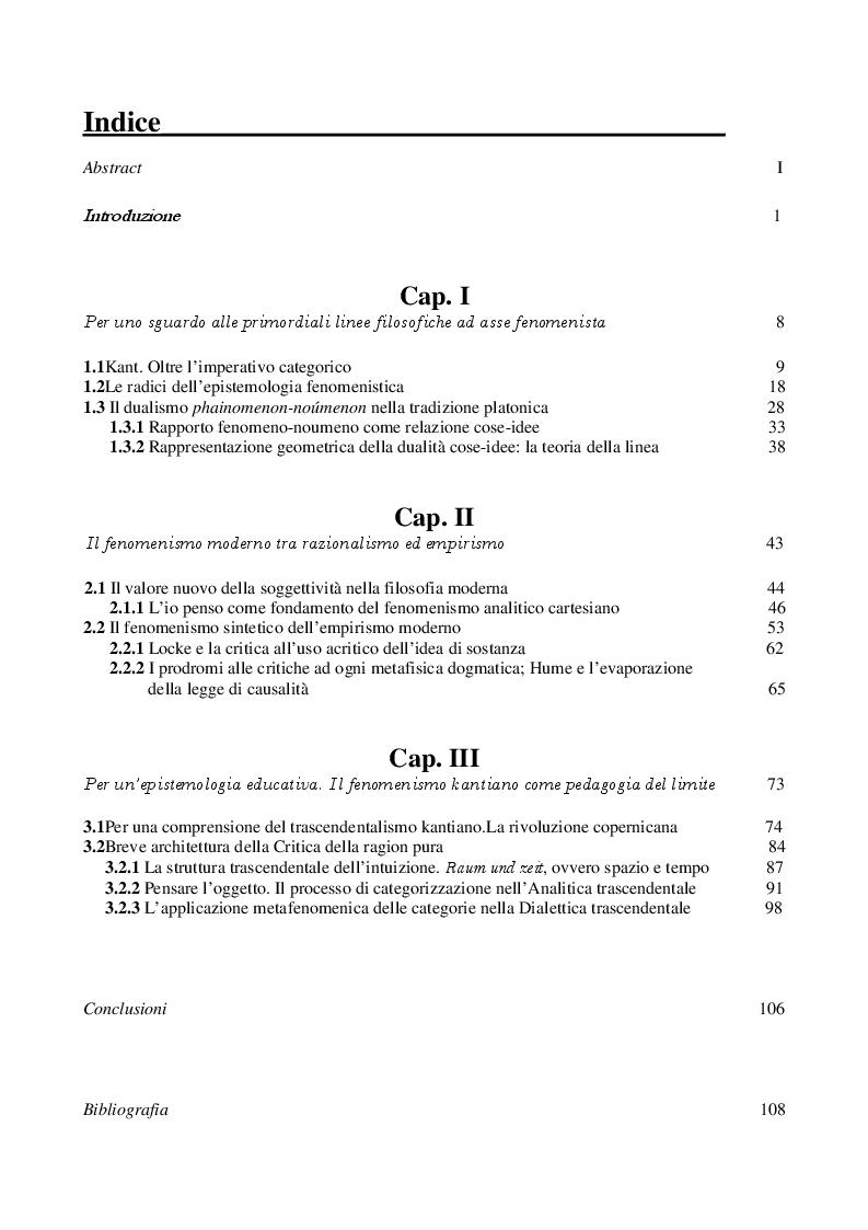 Indice della tesi: L'educazione fenomenistica nella prospettiva kantiana, Pagina 1